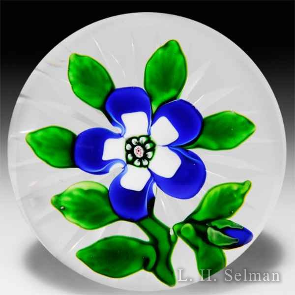 Antique Baccarat white & dark blue wallflower with blue bud by  Baccarat Antique