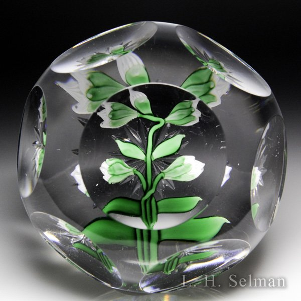 Antique Baccarat faceted white clematis buds paperweight. by  Baccarat Antique