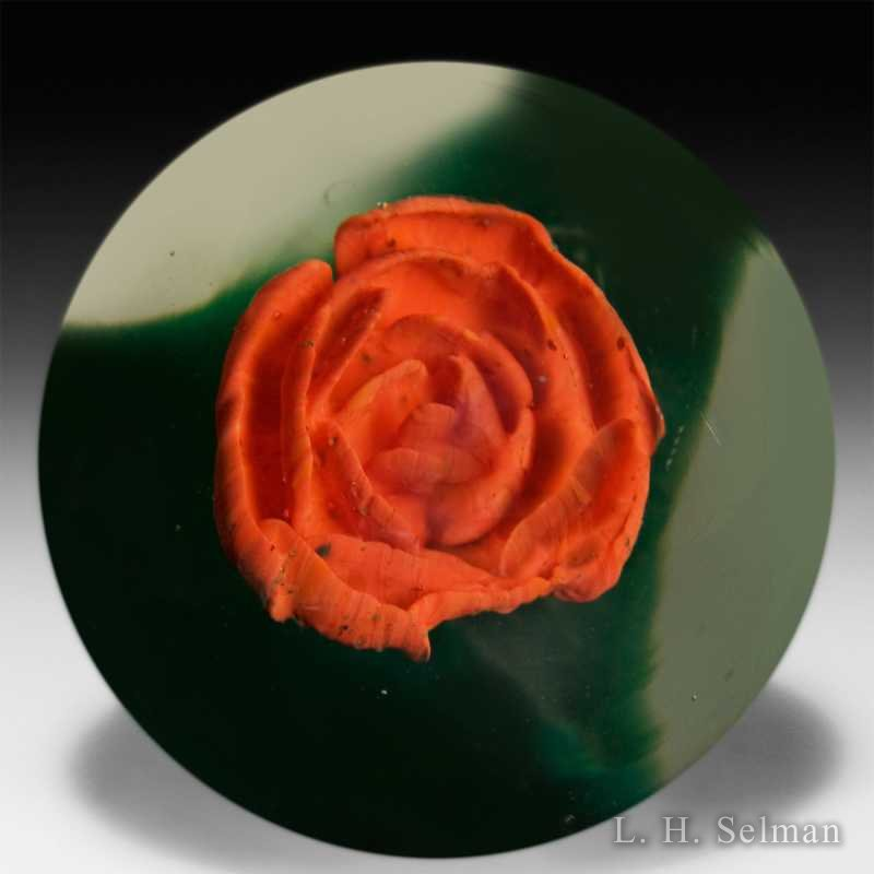 Antique Millville crimp rose glass paperweight. by  American