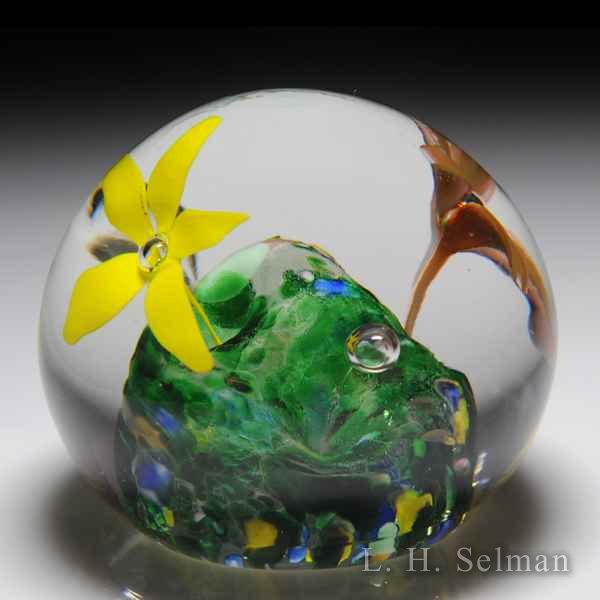 Vintage American stylized flowers glass paperweight. by  American