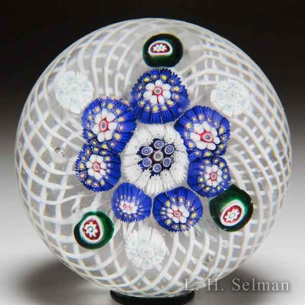 Antique New England Glass Company patterned millefiori glass paperweight. by  American