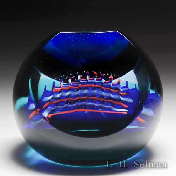 Caithness Glass 1995 'Shockwave' faceted abstract design glass paperweight. by Caithness  Glass Inc
