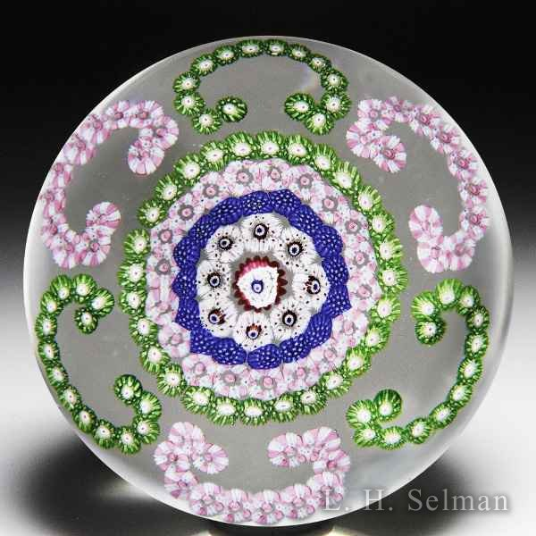 Antique Clichy C-scroll millefiori garlands glass paperweight. by  Clichy