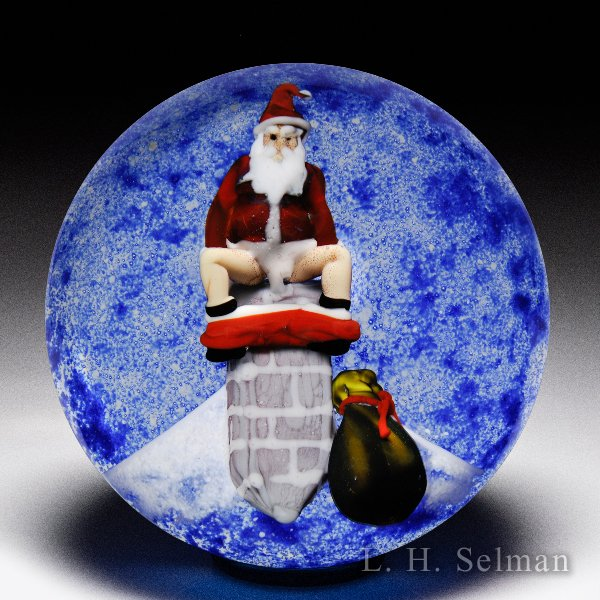 D'Onofrio 'Santa' 2004 Holiday weight w/Santa on chimney by Jim D'Onofrio