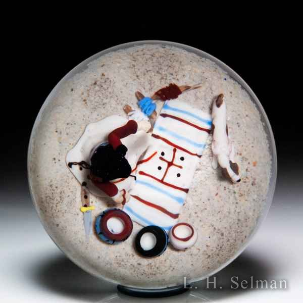 Jim D'Onofrio 2005 'Indian Woman and Rug' Southwestern scene paperweight. by Jim D'Onofrio