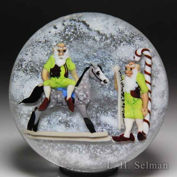 "Jim D'Onofrio 2006 ""Santa's Elves"" compound glass paperweight. by Jim D'Onofrio"