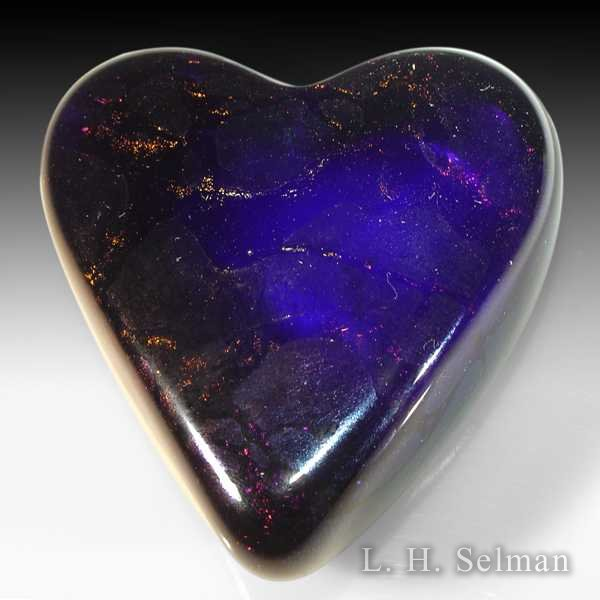 David Salazar 'Abalone Heart' of iridescent blue & gold by David P. Salazar