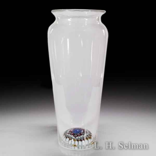 Antique Whitefriars tall vase with concentric millefiori base by  English Antique