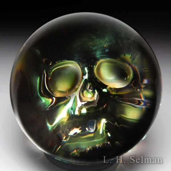 Brian Howie 'Silver Skull' large glass marble by Brian Howie