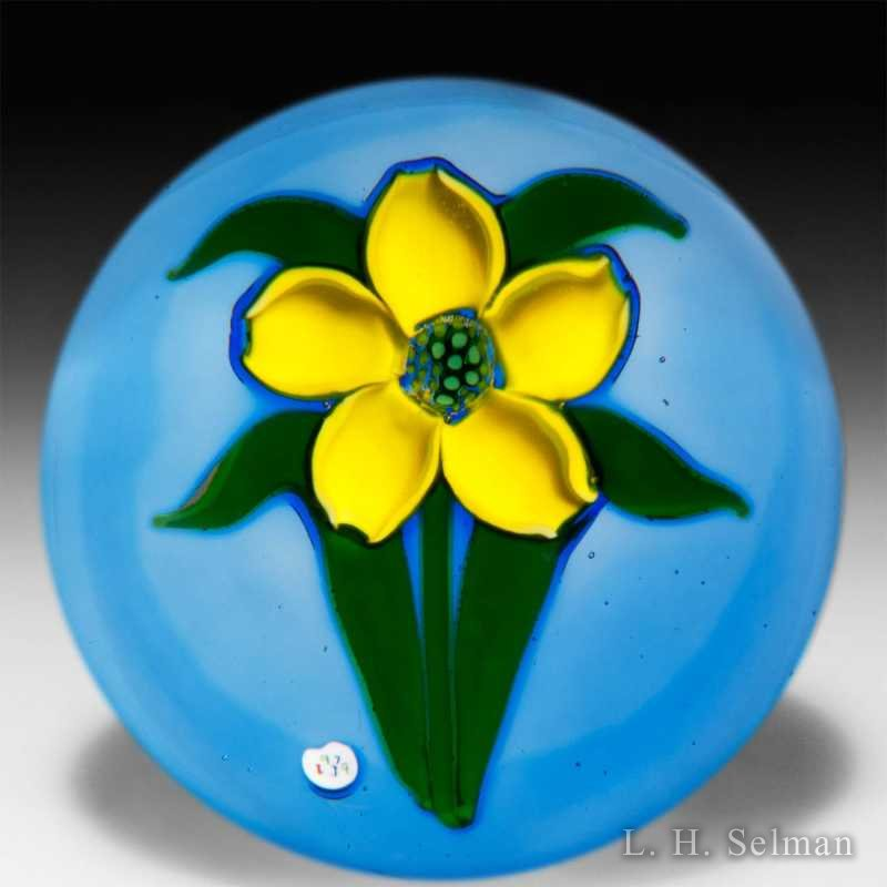 'J' Glass 'Bloom in May' yellow flower glass paperweight. by J Glass
