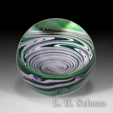 Leopold 'Spiral' medium marble with mauve spiral on green by Kevin Leopold
