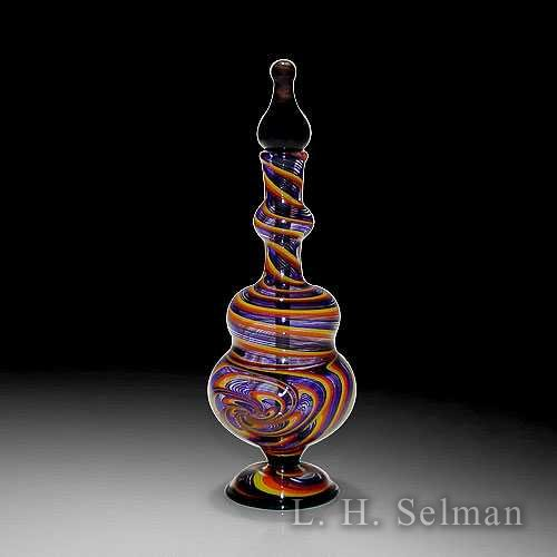 Leopold 'Raked Spiral' bottle in yellow, orange, red & blue by Kevin Leopold