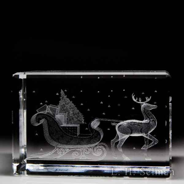 Laser Light 'Reindeer with Sleigh' magnum laser sculpture by Misc Modern