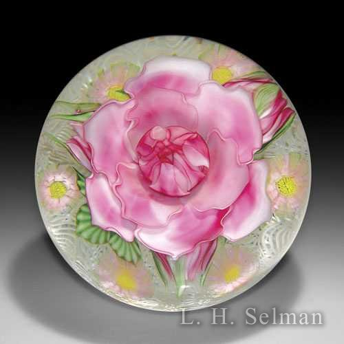 Lundberg Studios 2007 'Julia's Rose Garden' pink rose and buds magnum paperweight, by Daniel Salazar by  Lundberg Studios