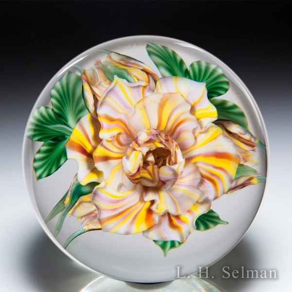 Lundberg Studios 2006 'Peace Rose and Buds' compound glass paperweight, by Daniel Salazar. by  Lundberg Studios