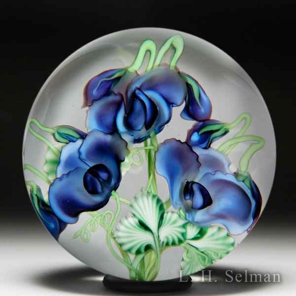 Lundberg Studios 'Lavender Sweet Pea Bouquet' compound glass paperweight, by Daniel Salazar. by  Lundberg Studios