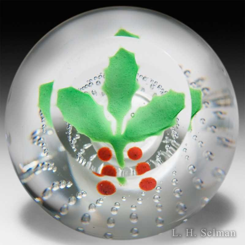 Anthony DePalma 'Holly' over air bubbles glass paperweight. by  Misc Modern
