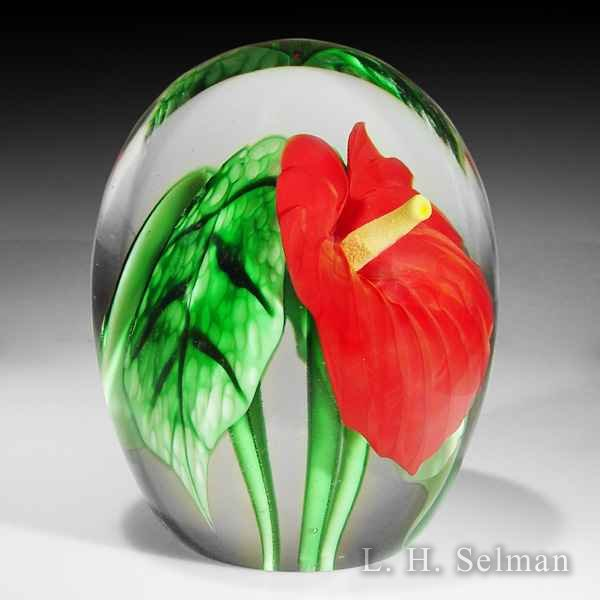 Orient & Flume 'Anthurium' red flower in high-domed weight by Orient & Flume
