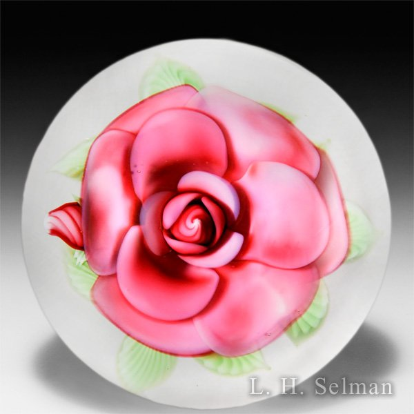Orient & Flume Art Glass 1988 pink rose and bud glass paperweight, by Bruce Sillars. by  Orient & Flume