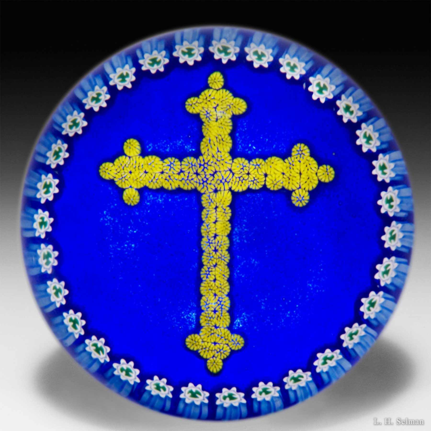 P. McD Glass Millefiori Cross & ring of canes on cobalt blue by Peter McDougall