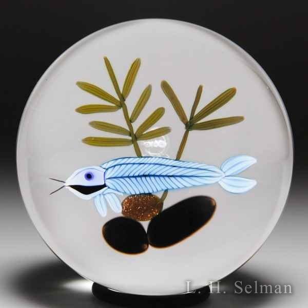 Peter McDougall 'Ghost Fish' with reeds and rocks paperweight. by Peter McDougall