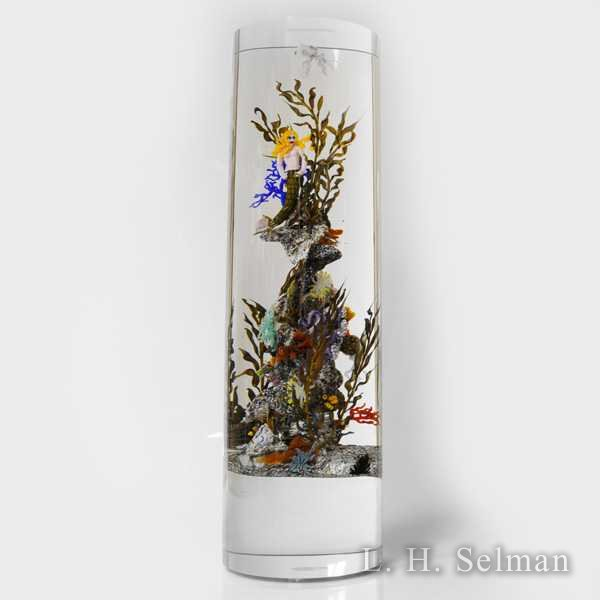 Grubb magnum glass column with mermaid, octopus, coral, etc. by Randall Grubb