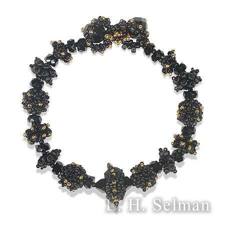 Roxie LaSoya bracelet of black & gold glass beads by Roxie J. LaSoya