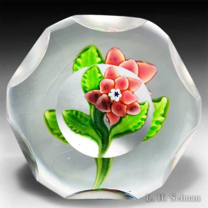 Antique Saint Louis faceted pink flower paperweight. by Saint Louis antique