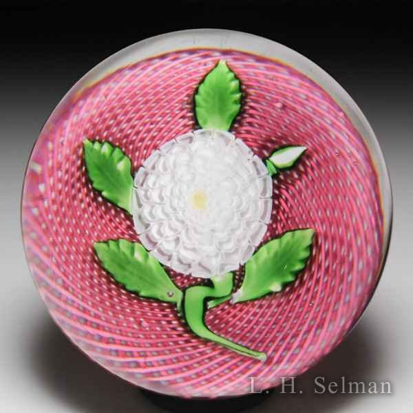 Antique Saint Louis white camomile on pink latticinio paperweight. by Saint Louis Antique
