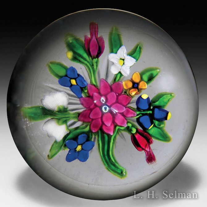 Important antique Saint Louis dahlia and fuchsias bouquet paperweight. by Saint Louis Antique