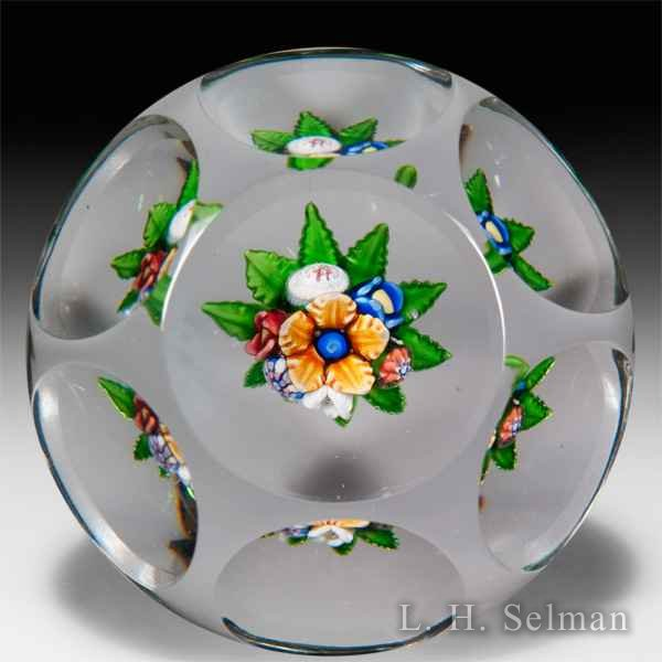 Antique Saint Louis upright bouquet faceted glass paperweight. by Saint Louis Antique