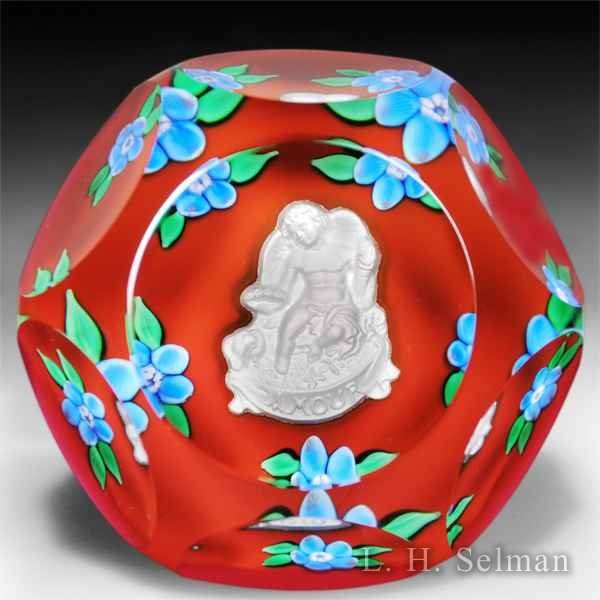 Saint Louis 1979 'Amour' faceted Cupid sulphide glass paperweight. by Modern Saint Louis