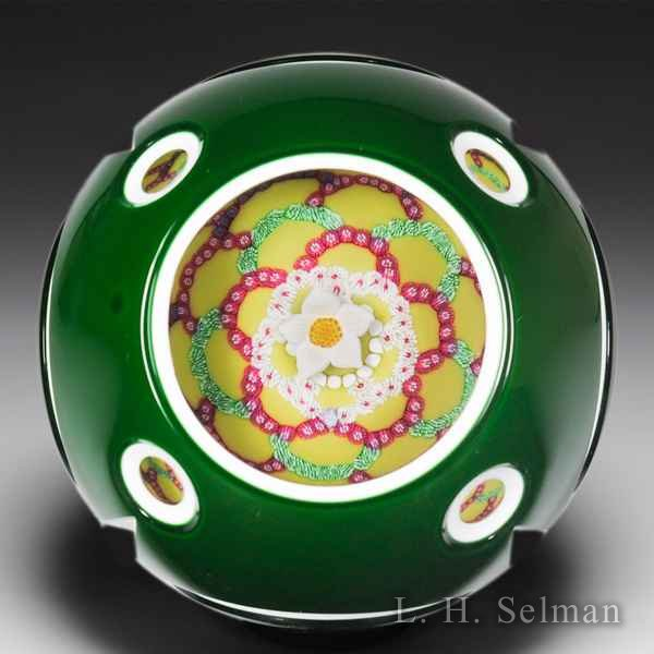 Saint Louis 2003 Artist Proof 'Madame de Castiglione' white flower and millefiori garlands overlay faceted glass paperweight. by  Saint Louis