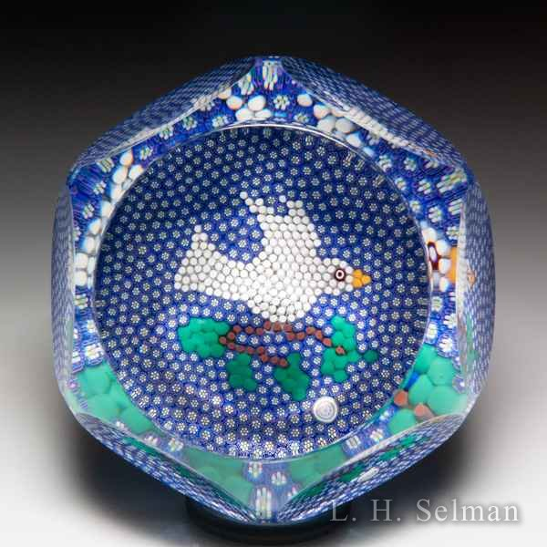 Saint Louis 1999 'Envol' white dove on blue millefiori carpet faceted glass paperweight. by Modern Saint Louis