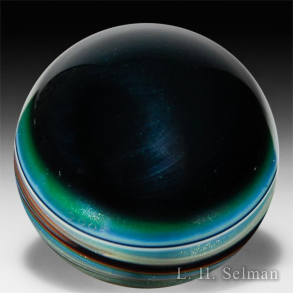 Todd Lewis 'Planetary Series' small marble in blue & purple by  Todd