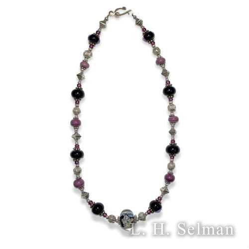 Wasserman 'Raku' necklace with black, plum & silver beads by Ann Wasserman