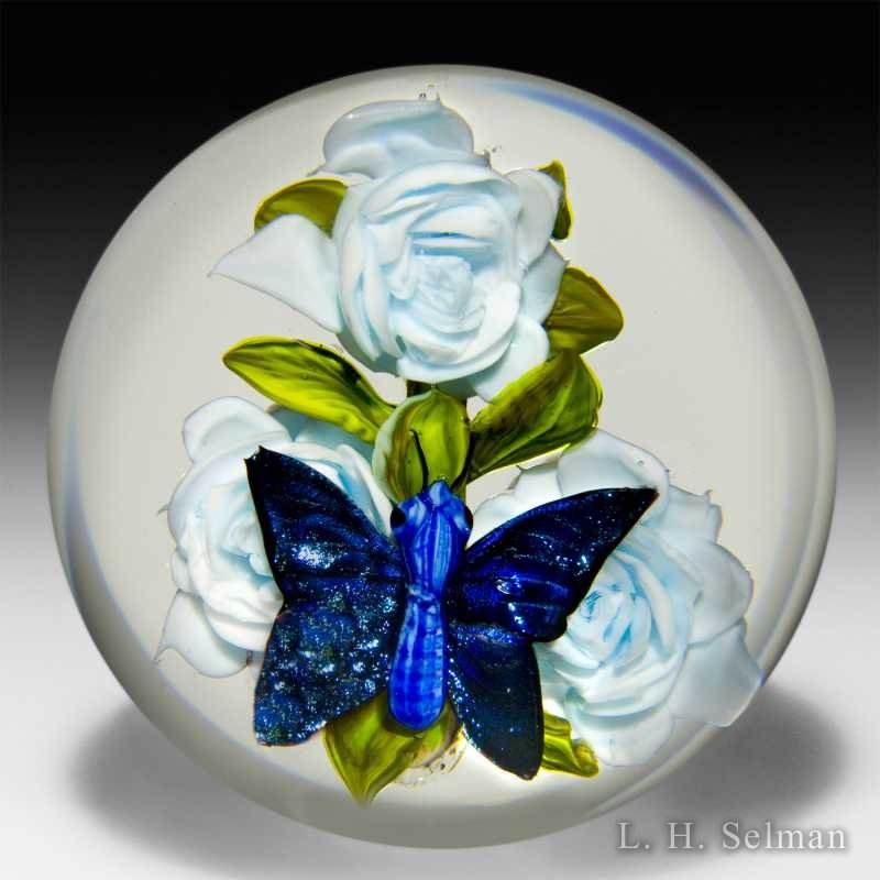 Rick Ayotte 2006 butterfly and light blue rose's magnum glass glass paperweight. by Rick Ayotte
