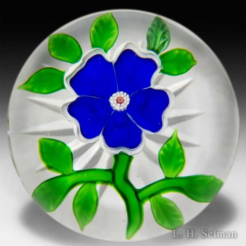 Antique Baccarat blue dogrose paperweight. by  Baccarat Antique