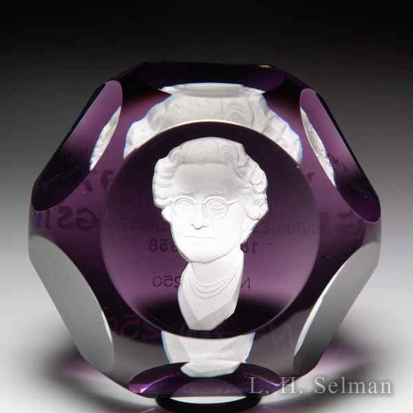 Baccarat 1973 100th anniversary memorial Evangeline H. Bergstrom sulphide faceted glass paperweight. by Baccarat Moderns