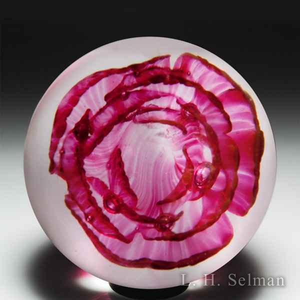 John Degenhart translucent red crimp rose glass paperweight. by John Degenhart