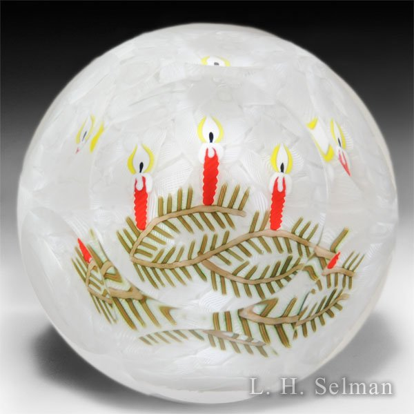 Perthshire Paperweights 1999 Christmas faceted red candles glass paperweight. by  Perthshire Paperweights