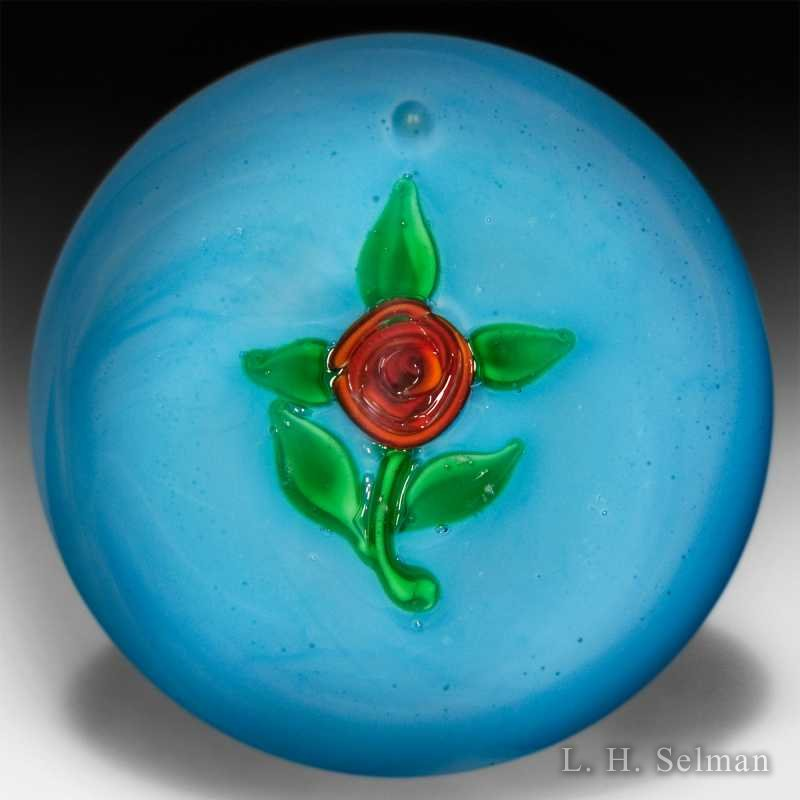 Ronald Hansen red rose miniature paperweight. by Ronald Hansen