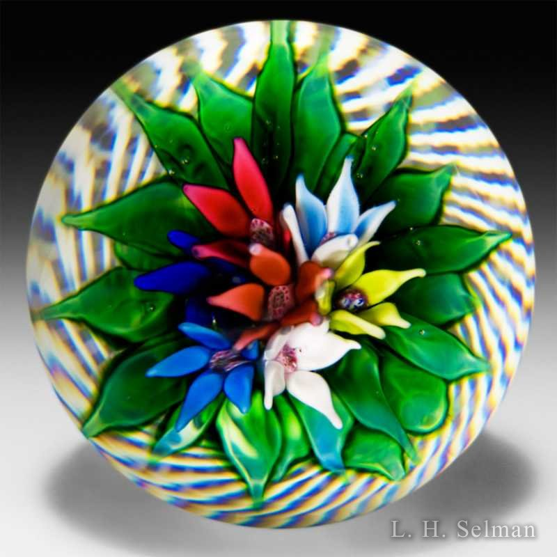 Saint Louis 1977 upright bouquet in a basket glass glass paperweight. by  Saint Louis