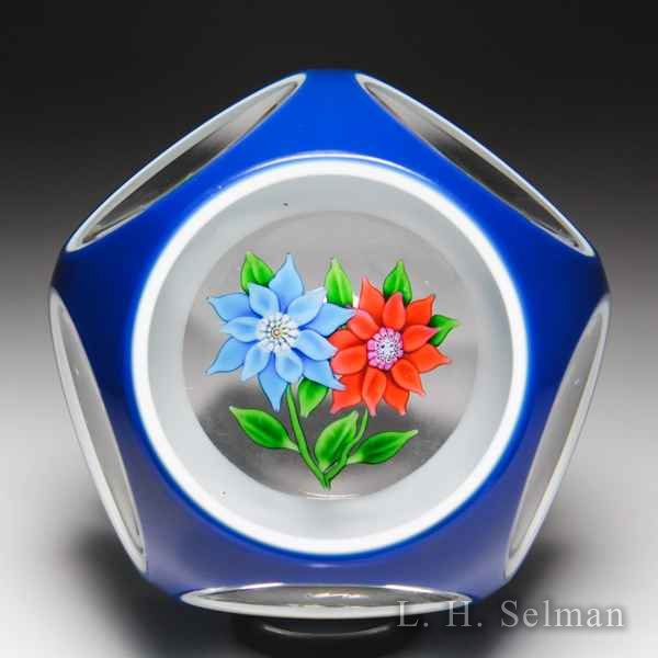Saint Louis 1975 blue and orange bouquet overlay faceted paperweight. by  Saint Louis Moderns