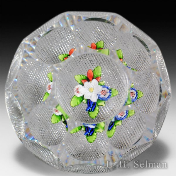 Antique Saint Louis faceted upright bouquet paperweight. by Saint Louis Antique