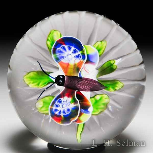 Very nice antique Baccarat millefiori butterfly over clematis glass paperweight. by  Baccarat Antique