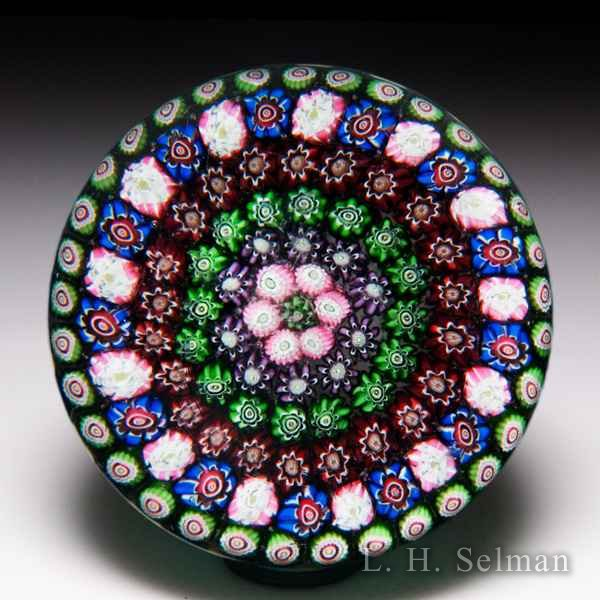 Antique Clichy concentric millefiori glass paperweight. by Antique Clichy