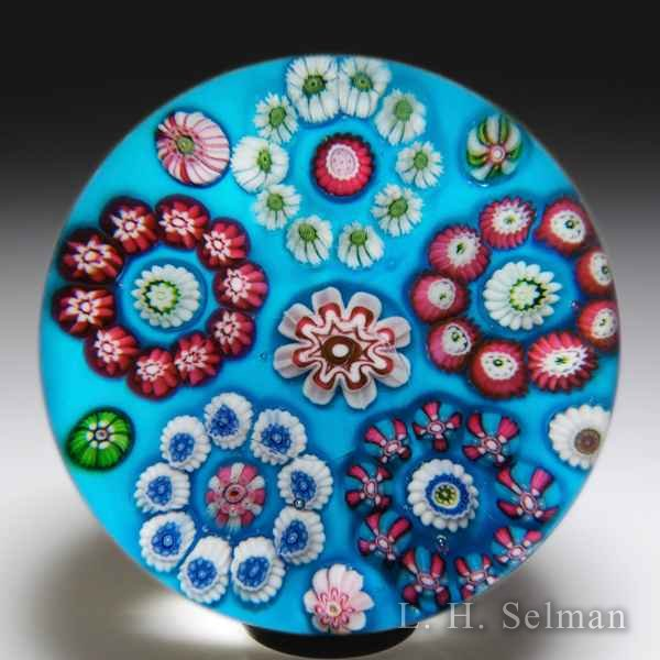 Antique Clichy millefiori circlet-patterned glass paperweight. by  Clichy