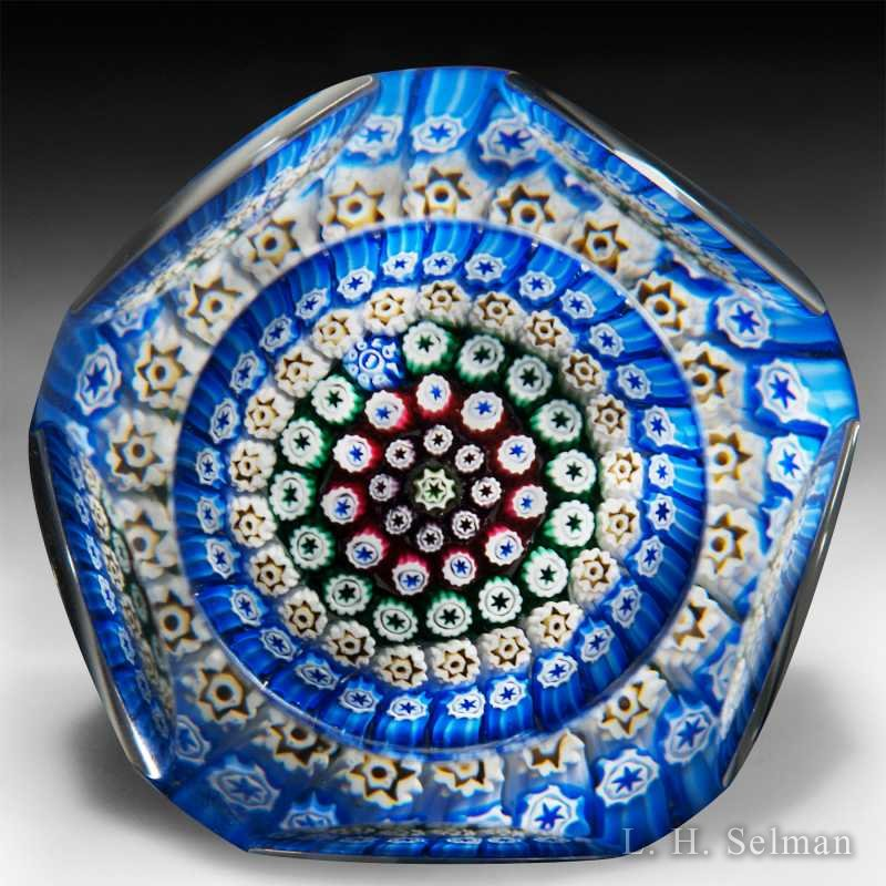 Whitefriars 1979 faceted millefiori glass paperweight. by  Whitefriars