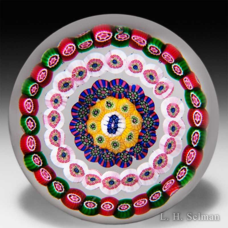 Baccarat (Dupont) concentric millefiori on clear ground paperweight. by Baccarat Moderns
